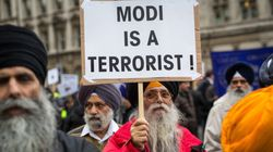 Hundreds Protest Outside 10 Downing Street Against Modi's Visit To