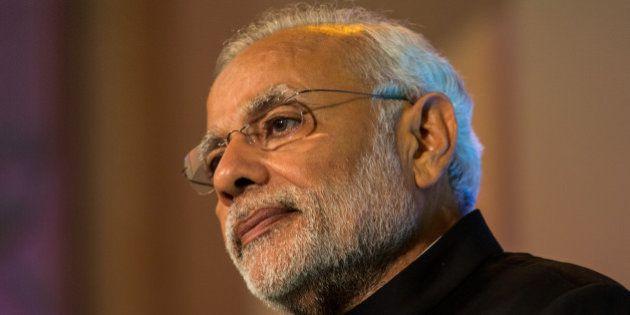 LONDON, ENGLAND - NOVEMBER 12: Indian Prime Minister Narendra Modi addresses industry leaders at Guildhall...