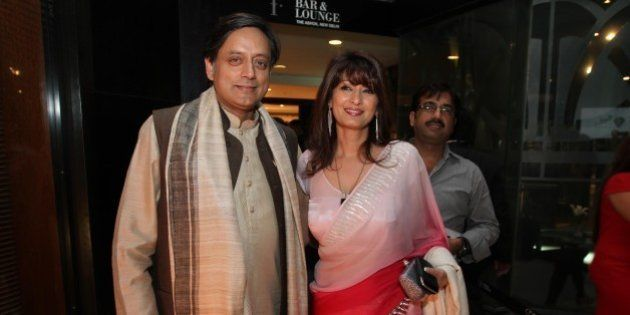 NEW DELHI, INDIA - MARCH 26: Member of Parliament Shashi Tharoor and his wife Sunanda attends a promotional...