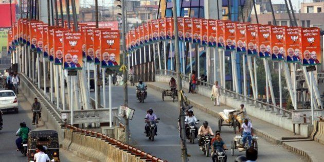 PATNA, INDIA - OCTOBER 20: BJP hoardings during election campaigns on Chiraiya Bridge on October 20,...