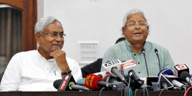 PATNA, INDIA - NOVEMBER 8: Janata Dal-United (JD-U) leader Nitish Kumar and Rashtriya Janta Dal leader...