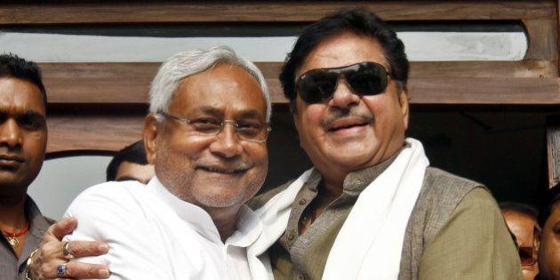 PATNA, INDIA - NOVEMBER 9: India film actor and BJP leader Shatrughan Sinha meets JD(U) leader and Bihar...