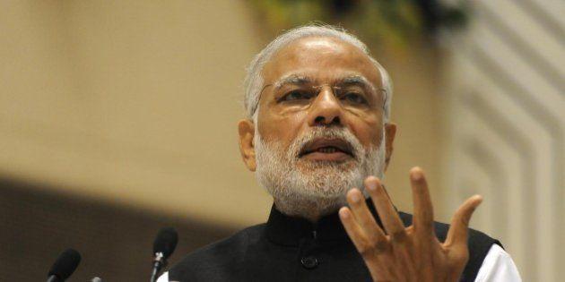 NEW DELHI, INDIA - NOVEMBER 18: Prime Minister Narendra Modi addresses during the 6th Global Focal Point...