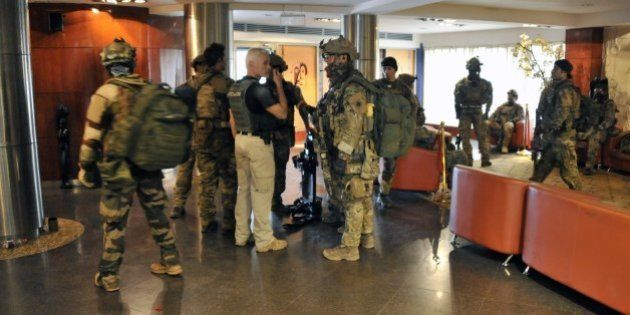 Members of special forces are seen inside the Radisson Blu hotel in Bamako on November 20, 2015, after...