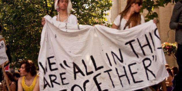 Taken at the Slutwalk meeting at Trafalgar Square in London on Saturday 11 June