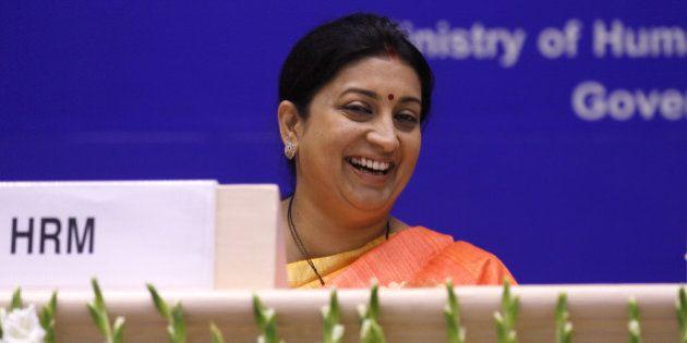 NEW DELHI, INDIA - SEPTEMBER 8: Union Minister of Human Resource Development Smriti Irani during the...