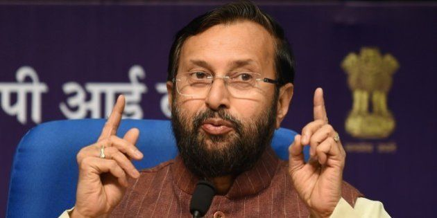 Indian Minister of Environment, Forests and Climate Change, Prakash Javadekar speaks during a press conference...