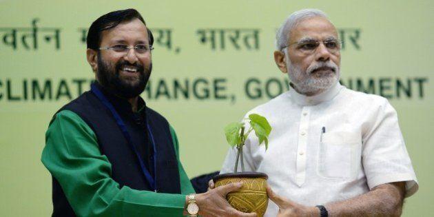 Indian Prime Minister Narendra Modi (R) receives a sapling from Environment Minister Prakash Javadekar...