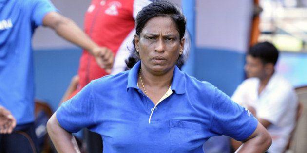 KOLKATA, INDIA - SEPTEMBER 17: Former athlete and now coach PT Usha training during a training session...