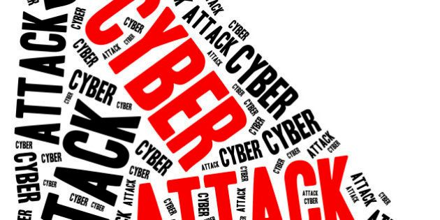 Cyber attack or internet crime. Word cloud