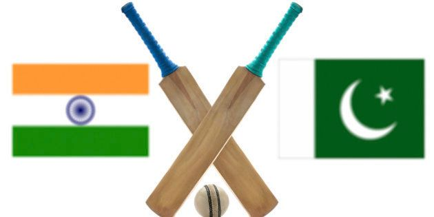 India vs Pakistan Cricket Match concept with their countries