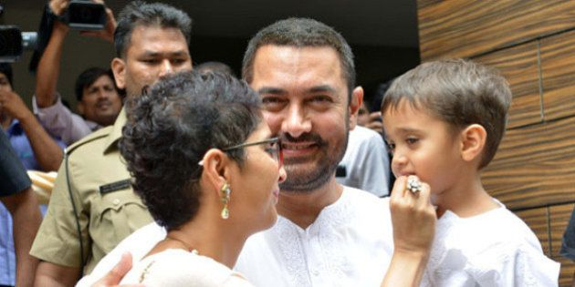 MUMBAI,INDIA JULY 18: Aamir Khan with wife Kiran Rao and son celebrating Eid in Mumbai.(Photo by Milind...