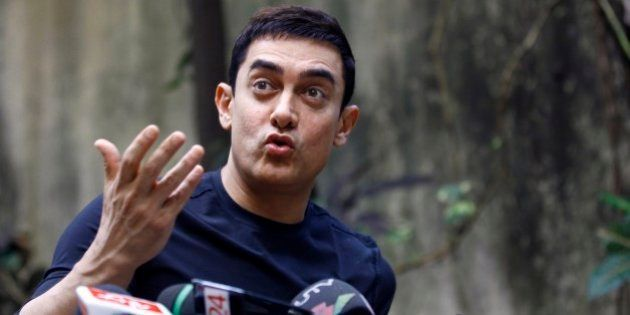 Bollywood actor Aamir Khan speaks during a press conference to promote his new