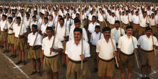 Volunteers of the militant Hindu group Rashtriya Swayamsevak Sangh (RSS) participate in a three-day workers...