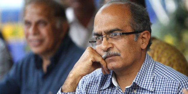 NEW DELHI, INDIA - APRIL 15: Dissident AAP leader Prashant Bhushan during a press conference at the Press...