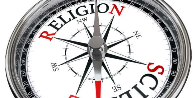 science versus religion concept compass isolated on white