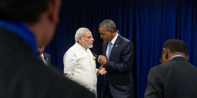 President Barack Obama and Indian Prime Minister Narendra Modi speak following a bilateral meeting, Monday,...