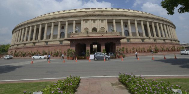 NEW DELHI,INDIA JULY 22: Parliament building in New Delhi.(Photo by Yasbant Negi/India Today Group/Getty