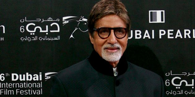 Indian actor Amitabh Bachhan arrives on the red carpet at the opening of the 6th Dubai International...