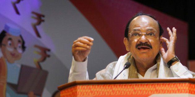 NEW DELHI, INDIA - NOVEMBER 23: Union Minister for Urban Development M Venkiah Naidu addresses the gathering...