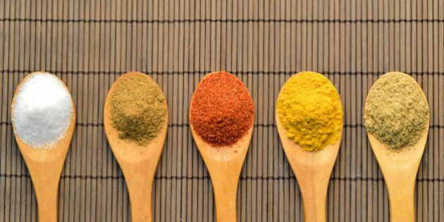 Indian Spicesspoon woodentraditional cuisine foodwood color taste Indiachili cumin turmeric salt coriander