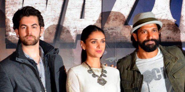 Indian Bollywood actors (L-R) Neil Nitin Mukesh, Aditi Rao Hydari and Farhan Akhtar attend the trailer...