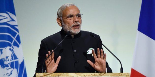 Indian Prime Minister Narendra Modi delivers a speech during the opening day of the World Climate Change...