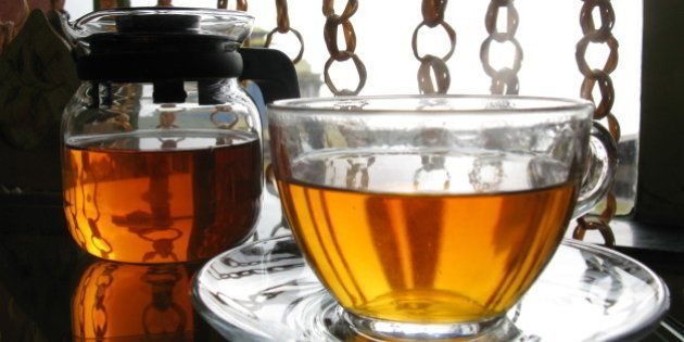 A gourmet cup of tea is served in one of the tea-houses of Darjeeling town, West-Bengal,