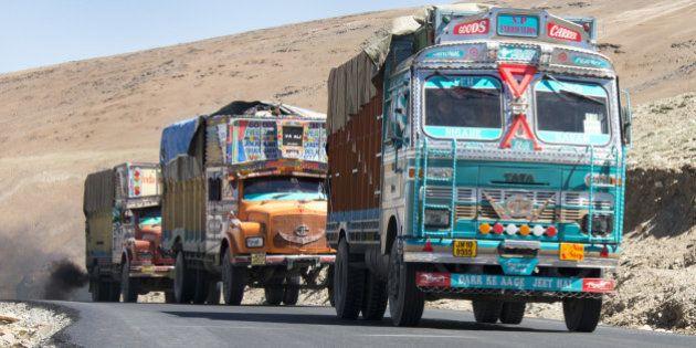 Decorated trucks on Leh-Manali