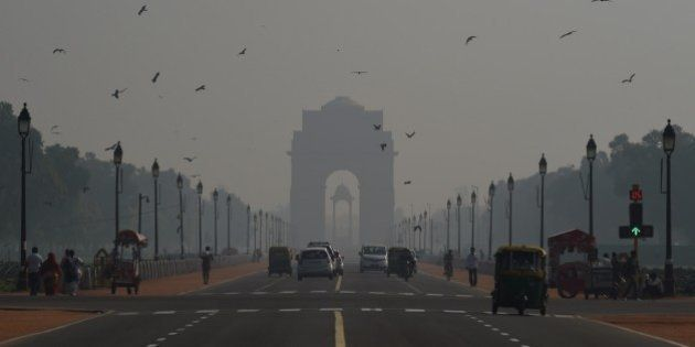 A general view showing smog enveloping New Delhi after the Diwali festival, which is notorious for heralding...