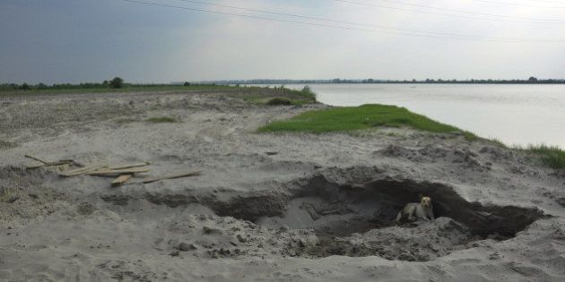 GHAZIABAD, INDIA - AUGUST 3: Yamuna riverbed at Pychara village one of the hotspot for illegal sand mining...