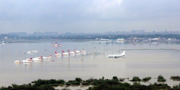 CHENNAI, INDIA - DECEMBER 2 : An aerial view of submerged Chennai airport taken by the Indian Air Force...
