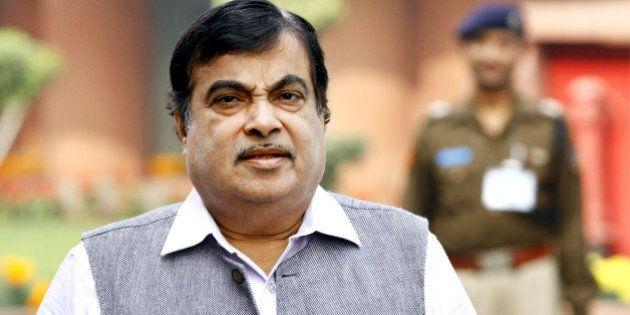 NEW DELHI, INDIA - NOVEMBER 26: Union Minister Nitin Gadkari arrives for the winter session of Parliament...