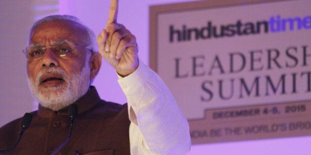 NEW DELHI, INDIA - DECEMBER 4: Prime Minister Narendra Modi speaks on the theme Towards a Brighter Indiaduring...
