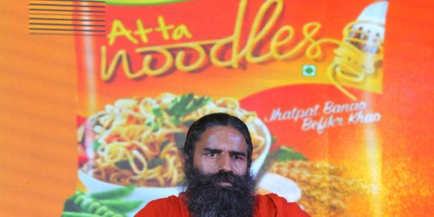 NEW DELHI, INDIA NOVEMBER 16: Baba Ramdev launching Patanjali Atta Noodles on November 16, 2015 in New...