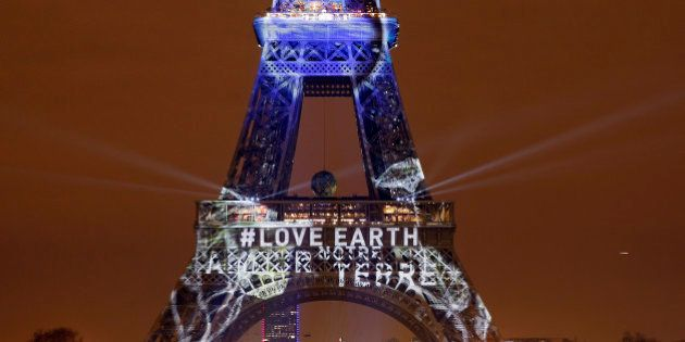 PARIS, FRANCE - NOVEMBER 29: An artwork entitled 'One Heart One Tree' by artist Naziha Mestaoui is displayed...
