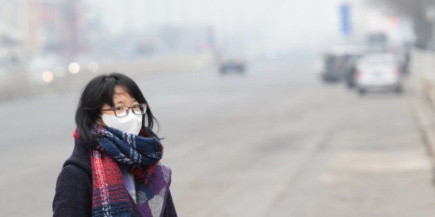 BEIJING, CHINA - DECEMBER 07: (CHINA OUT) A woman wearing mask walks along a road in heavy smog on December...