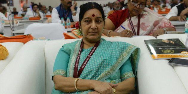 BENGALURU, INDIA - APRIL 3: BJP leader Sushma Swaraj during the BJP two-day National Executive meeting...