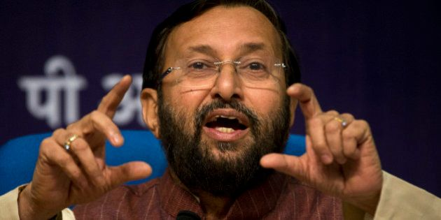 Prakash Javadekar, Indian Environment Minister, addresses a press conference in New Delhi, India, Monday,...