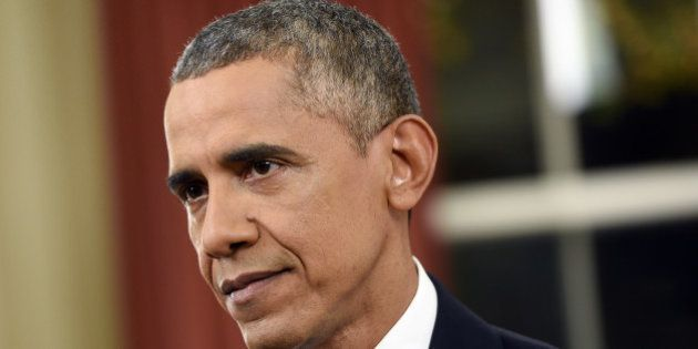 U.S. President Barack Obama delivers an address to the nation in the Oval Office of the White House in...