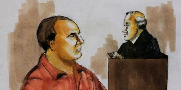 FILE- In this Dec. 9, 2009 file courtroom drawing shows David Coleman Headley, left, pleads not guilty...