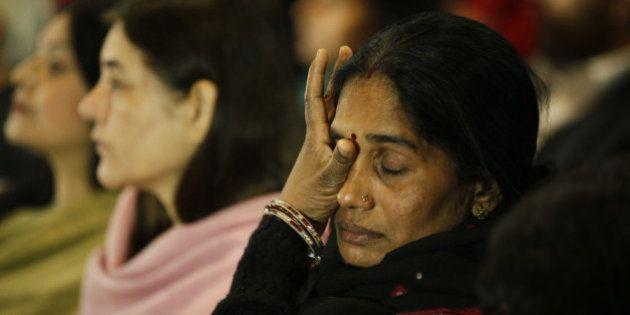 NEW DELHI, INDIA - DECEMBER 16: Mother of Nirbhaya gets emotional at a prayer meeting to remember Nirbhaya...