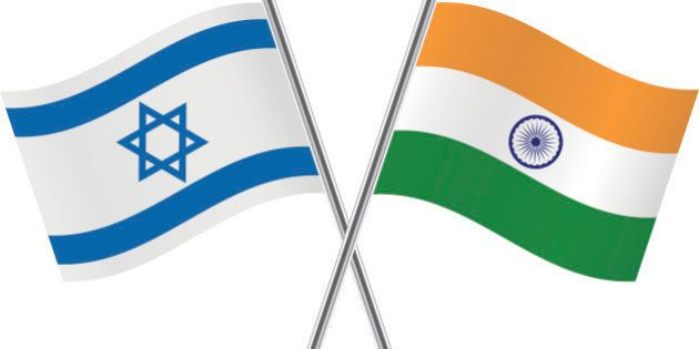 Israeli and Indian flags. Vector