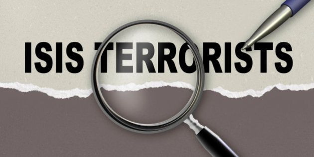 word ISIS TERRORISTS and magnifying glass with pencil made in 2d