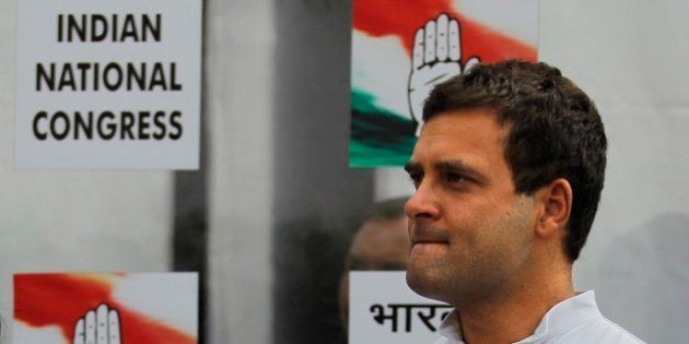 Congress party Vice President Rahul Gandhi arrives to address the media outside the party headquarters...