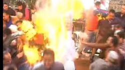 Congress Workers Set Themselves On Fire By Accident, Trying To Burn Modi's