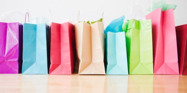 Colorful shopping bags standing in