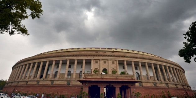 NEW DELHI, INDIA - JULY 30: Dense clouds over the Parliament House during the ongoing Monsoon Session...