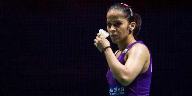 DUBAI, UNITED ARAB EMIRATES - DECEMBER 11: Saina Nehwal of India reacts in the Women,s Singles match...