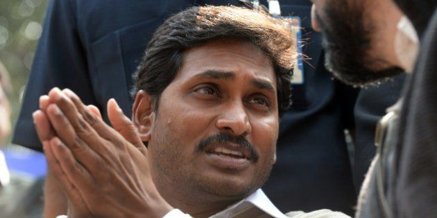 YSR Congress chief, Jagan Mohan Reddy gestures during a protest against the bifurcation of Andhra Pradesh,...